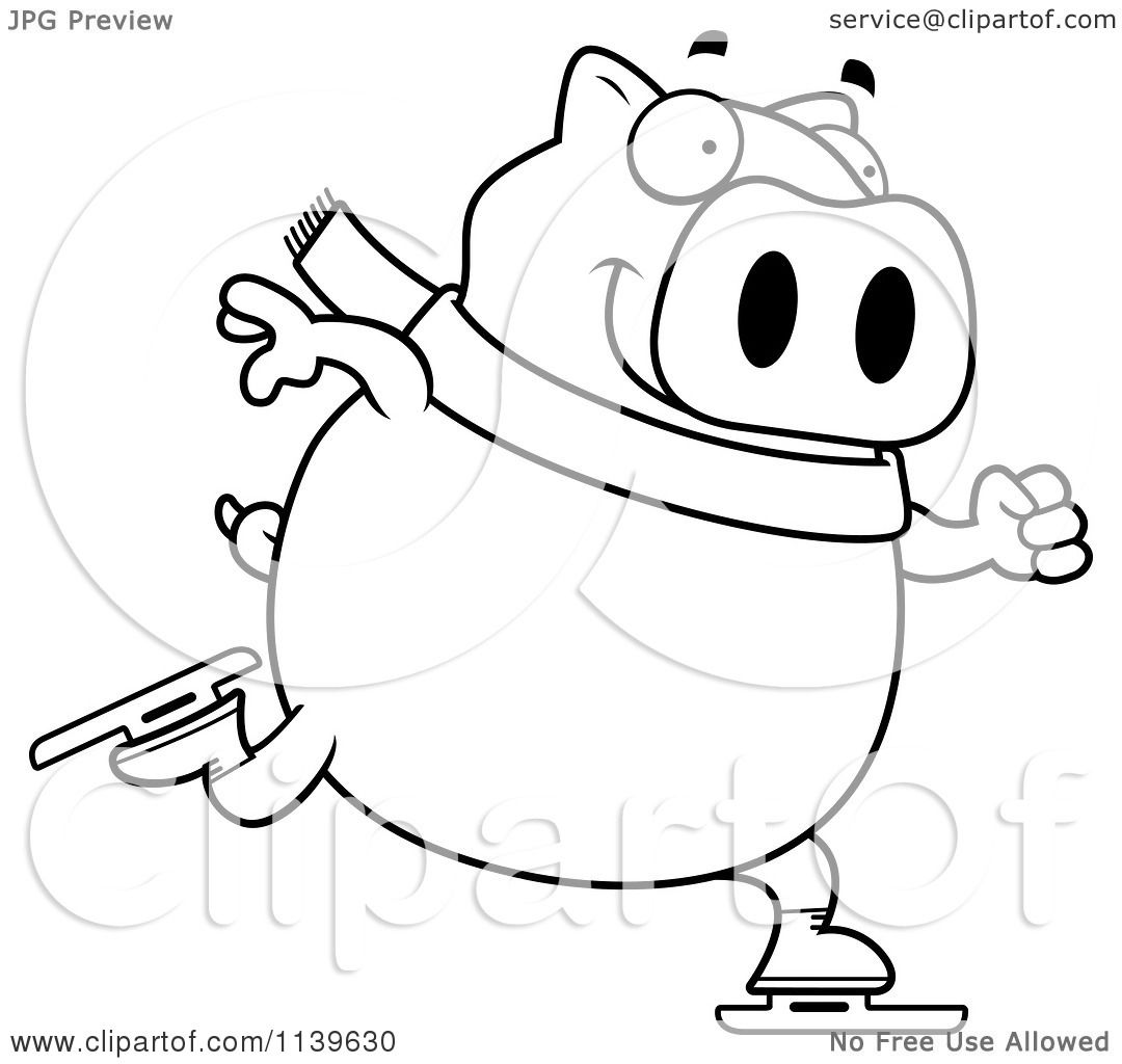 Cartoon Clipart Of A Black And White Chubby Pig Ice Skating - Vector ...