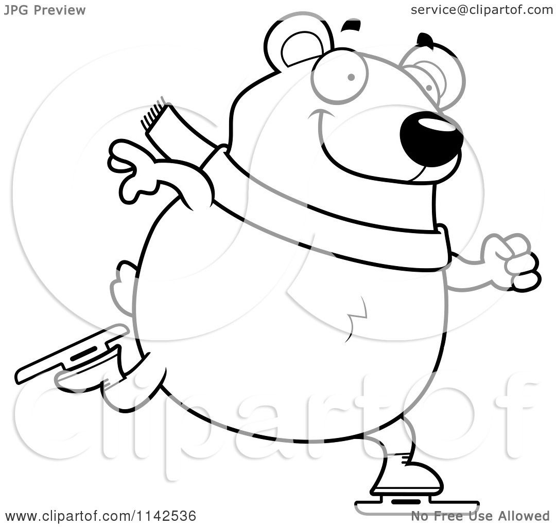 cartoon clipart of a black and white chubby polar bear ice skating