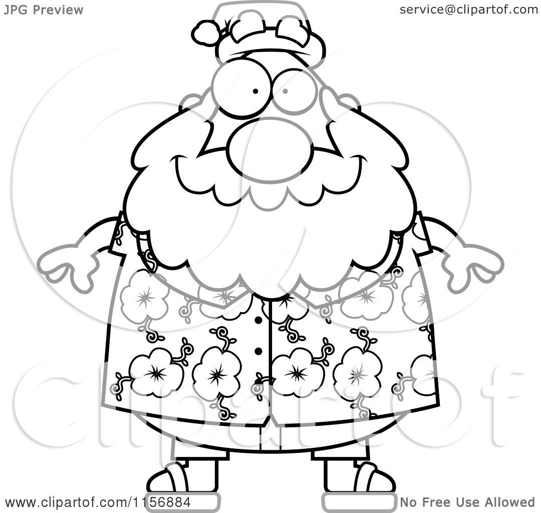 cartoon clipart of a black and white chubby santa in a hawaiian