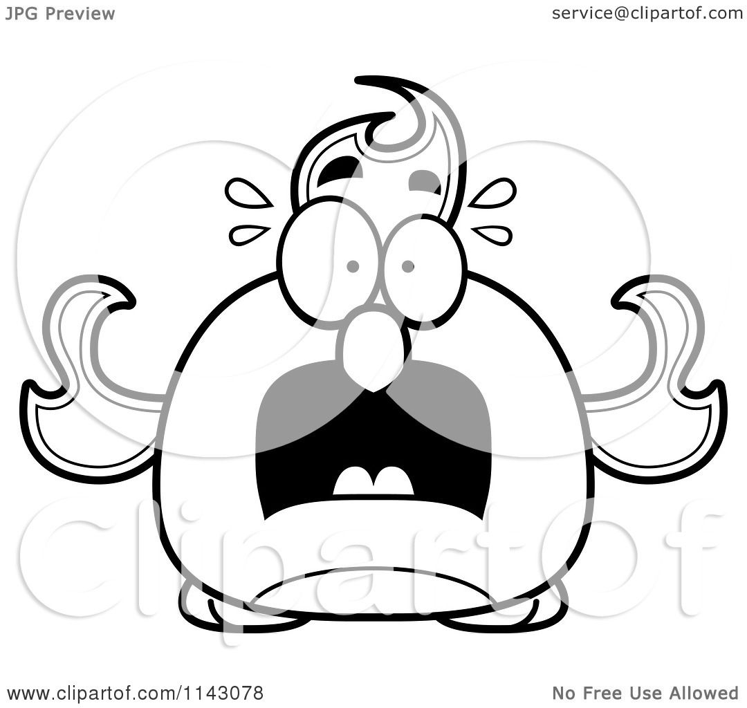 cartoon clipart of a black and white chubby scared phoenix fire