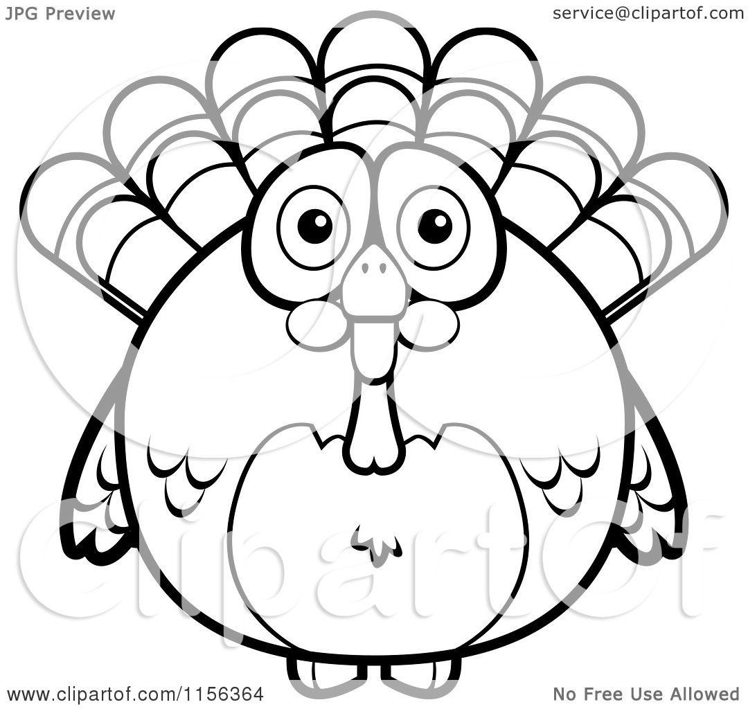 cartoon clipart of a black and white chubby turkey bird vector