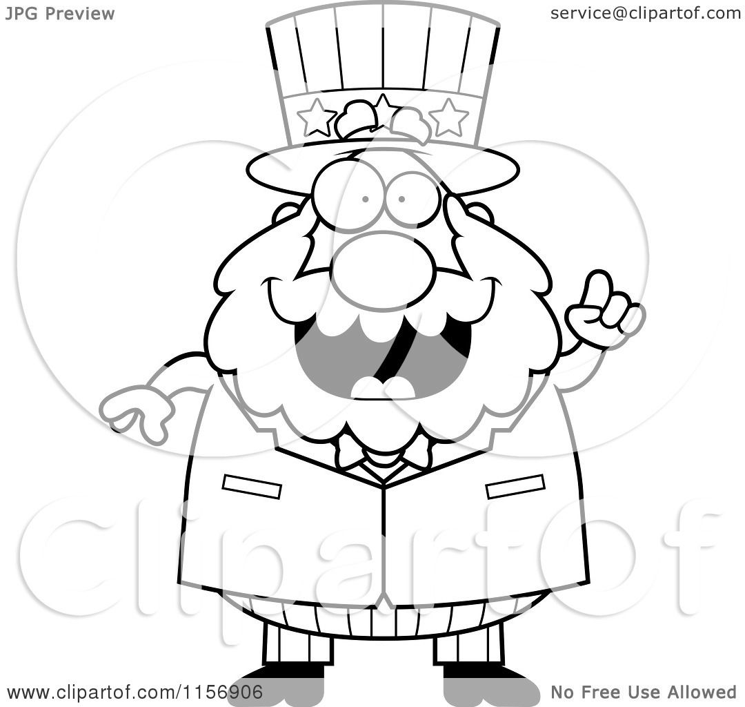 Cartoon Clipart Of A Black And White Chubby Uncle Sam Man ... | 1080 x 1024 jpeg 85kB
