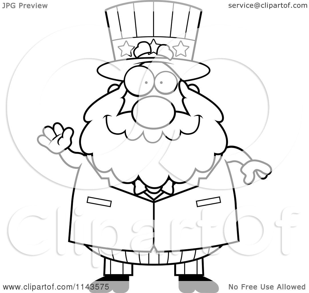 Cartoon Clipart Of A Black And White Chubby Uncle Sam