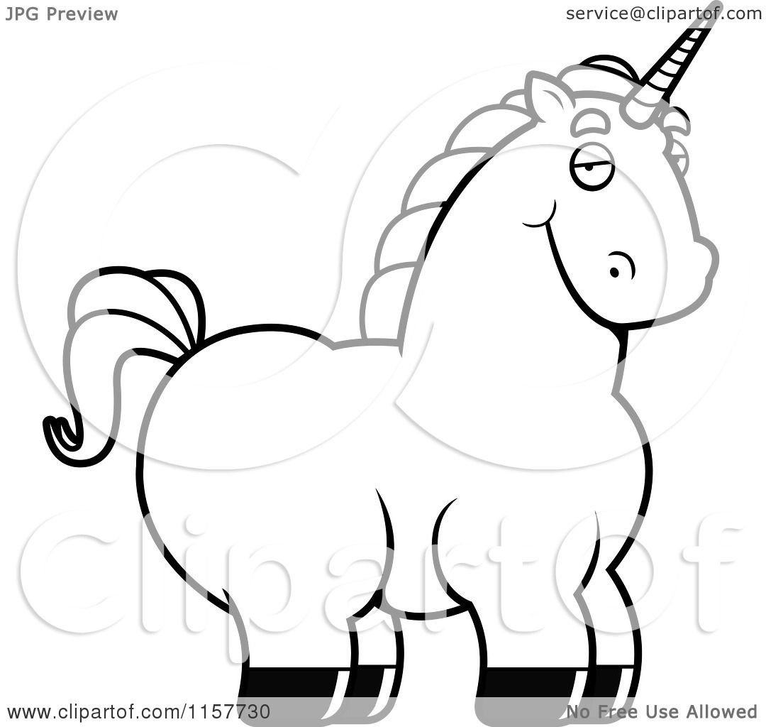 Cartoon Clipart Of A Black And White Chubby Unicorn ...