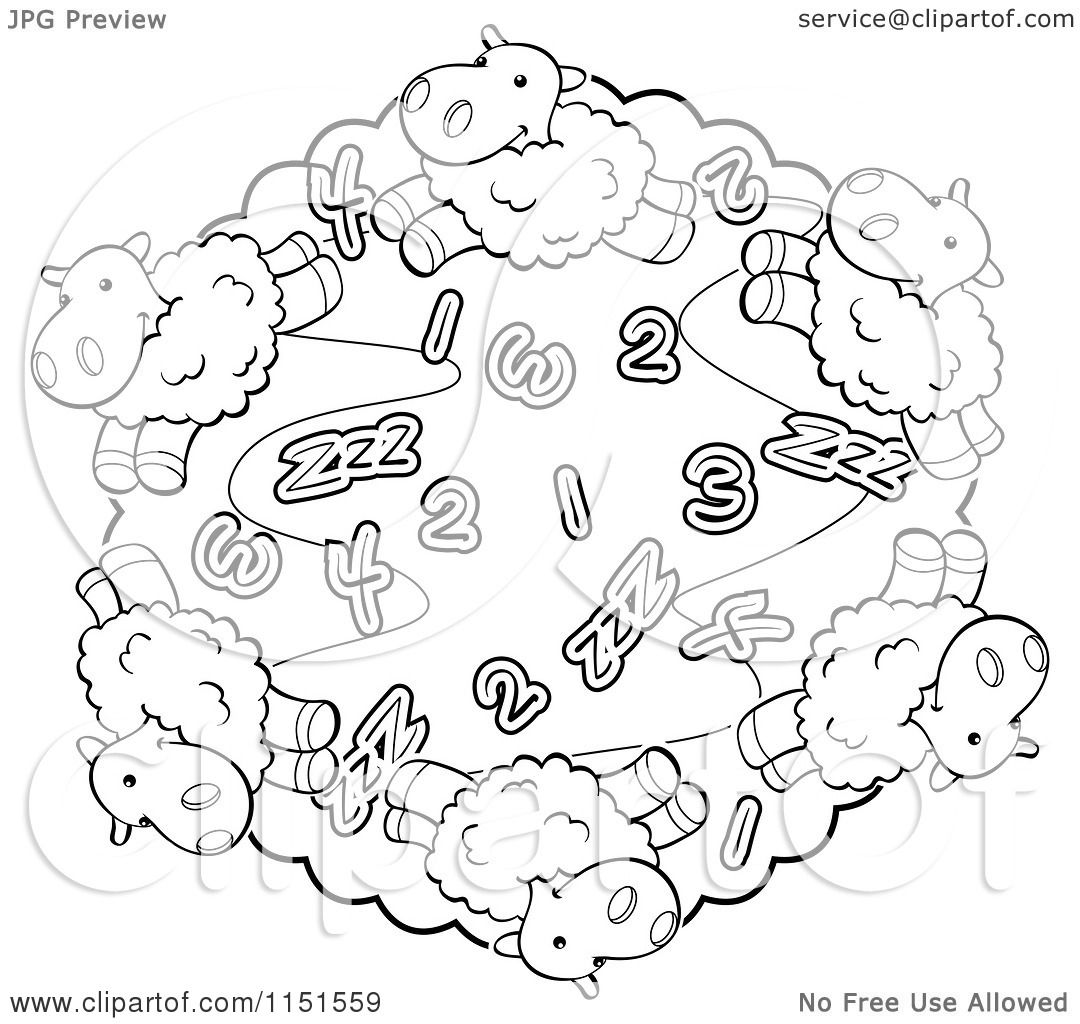 cartoon clipart of a black and white circle of sheep and numbers