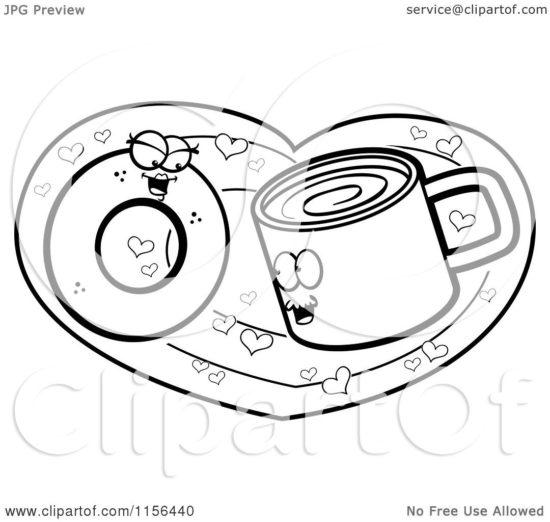 cartoon clipart of a black and white coffee cup and donut in love