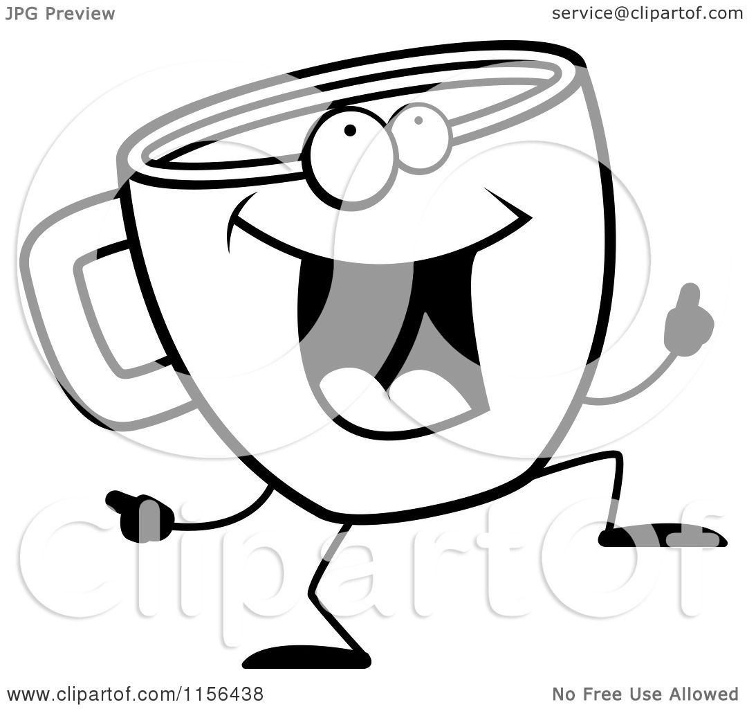 Cartoon Clipart Of A Black And White Coffee Cup Doing a Happy Dance ...
