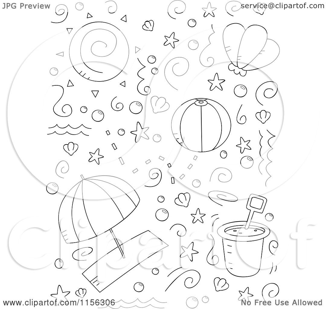 cartoon clipart of a black and white collage of beach doodles