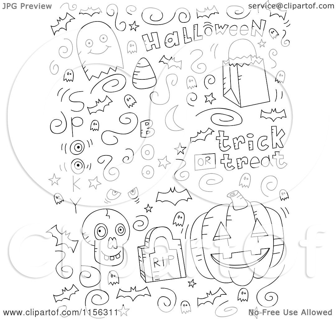 cartoon clipart of a black and white collage of halloween doodles