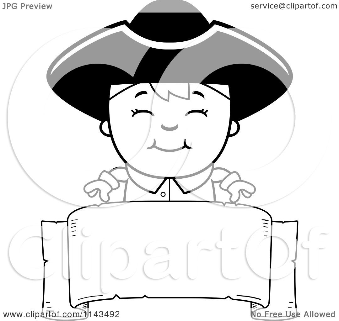 Adult Cute Colonial Coloring Pages Gallery Images best cartoon clipart of a black and white colonial boy over blank banner vector outlined coloring page by cory thoman images
