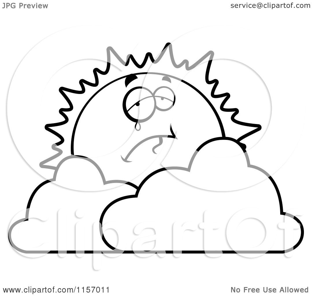 cartoon clipart of a black and white crying sun over clouds