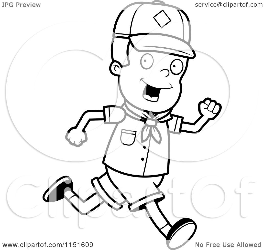 Cartoon Clipart Of A Black And White Cub Scout Boy Running