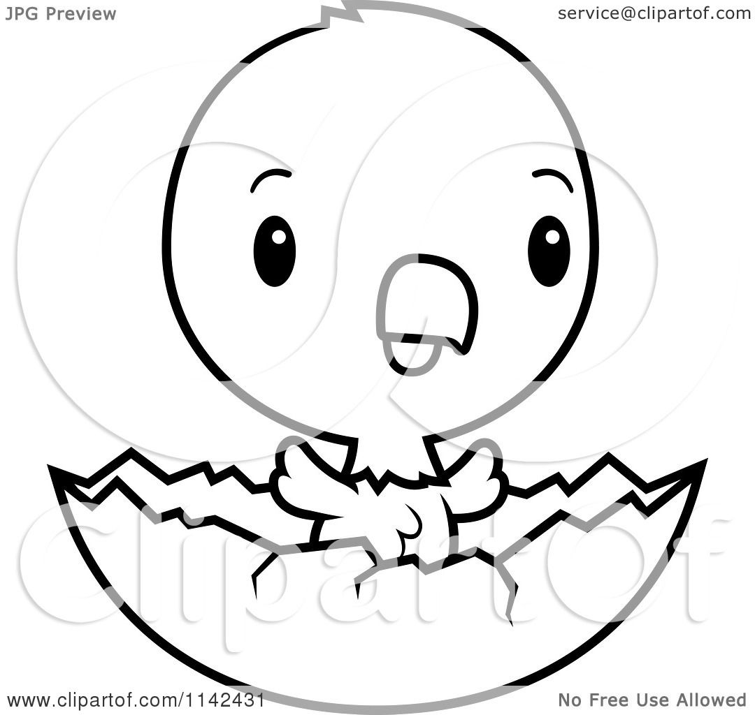 Cartoon Clipart Of A Black And White Cute Baby Bald