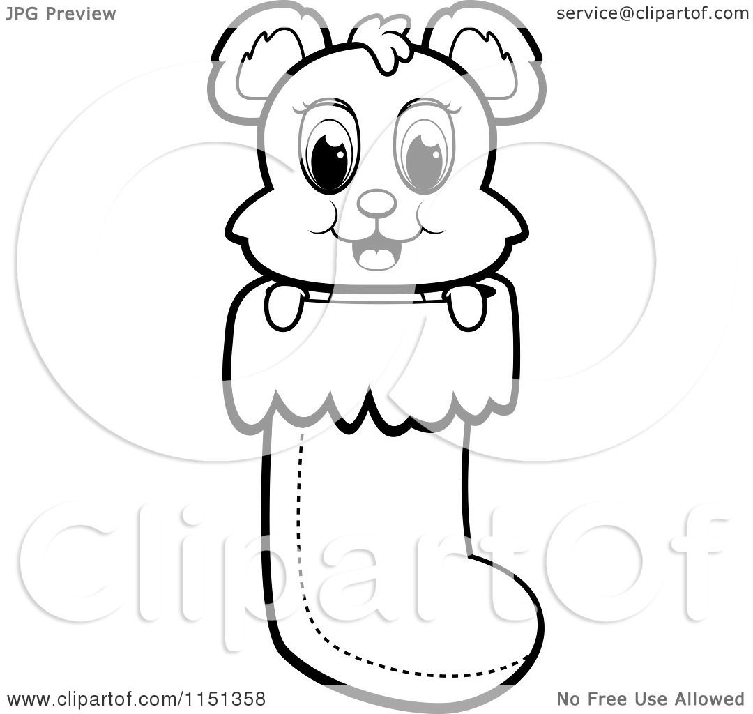 cartoon clipart of a black and white cute baby bear in a christmas
