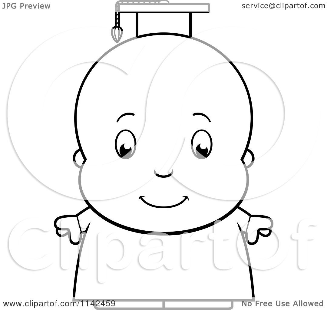 cartoon clipart of a black and white cute baby boy professor or