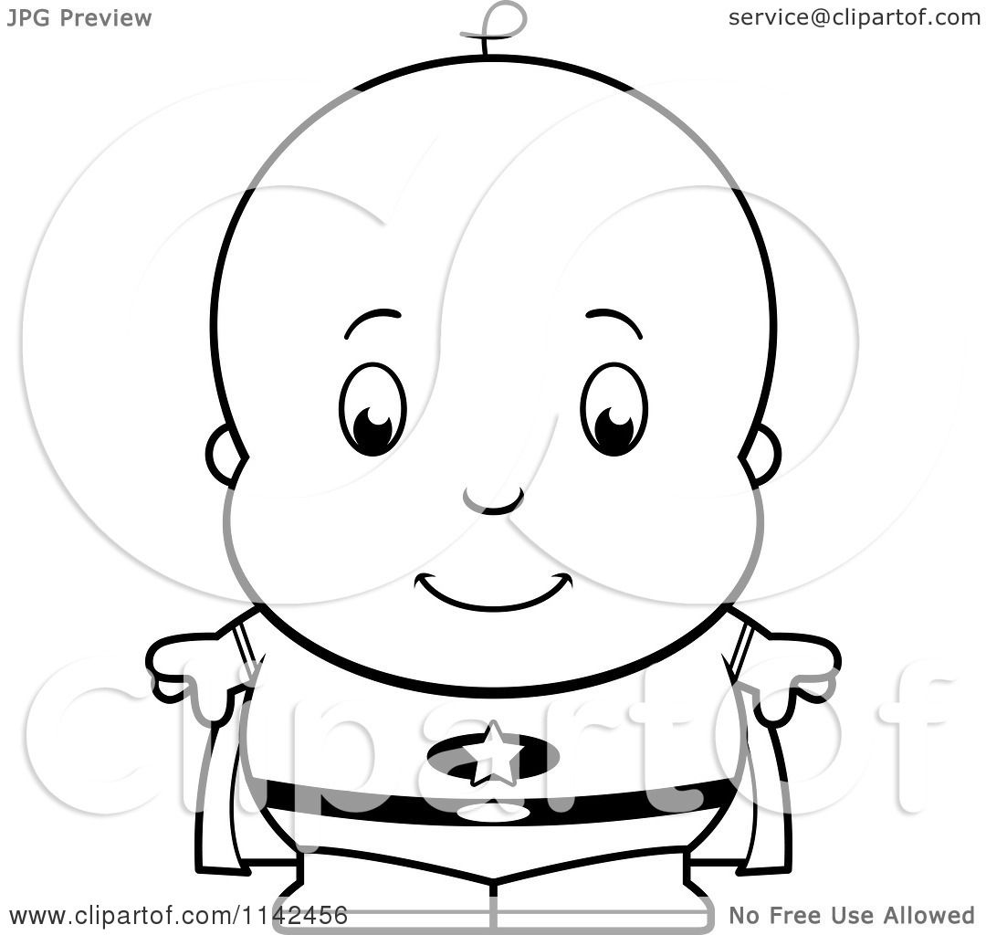 cartoon clipart of a black and white cute baby boy super hero