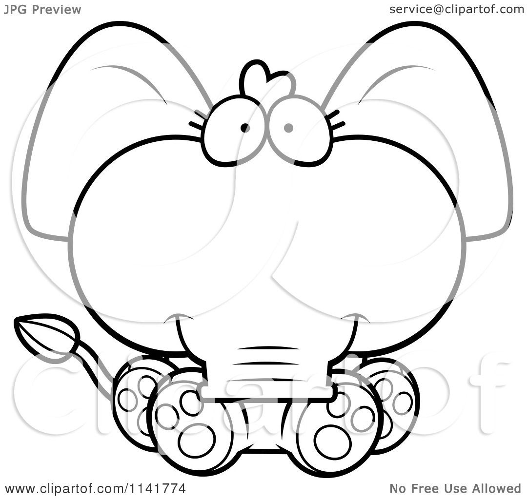 cartoon clipart of a black and white cute baby elephant sitting vector outlined coloring page by cory thoman