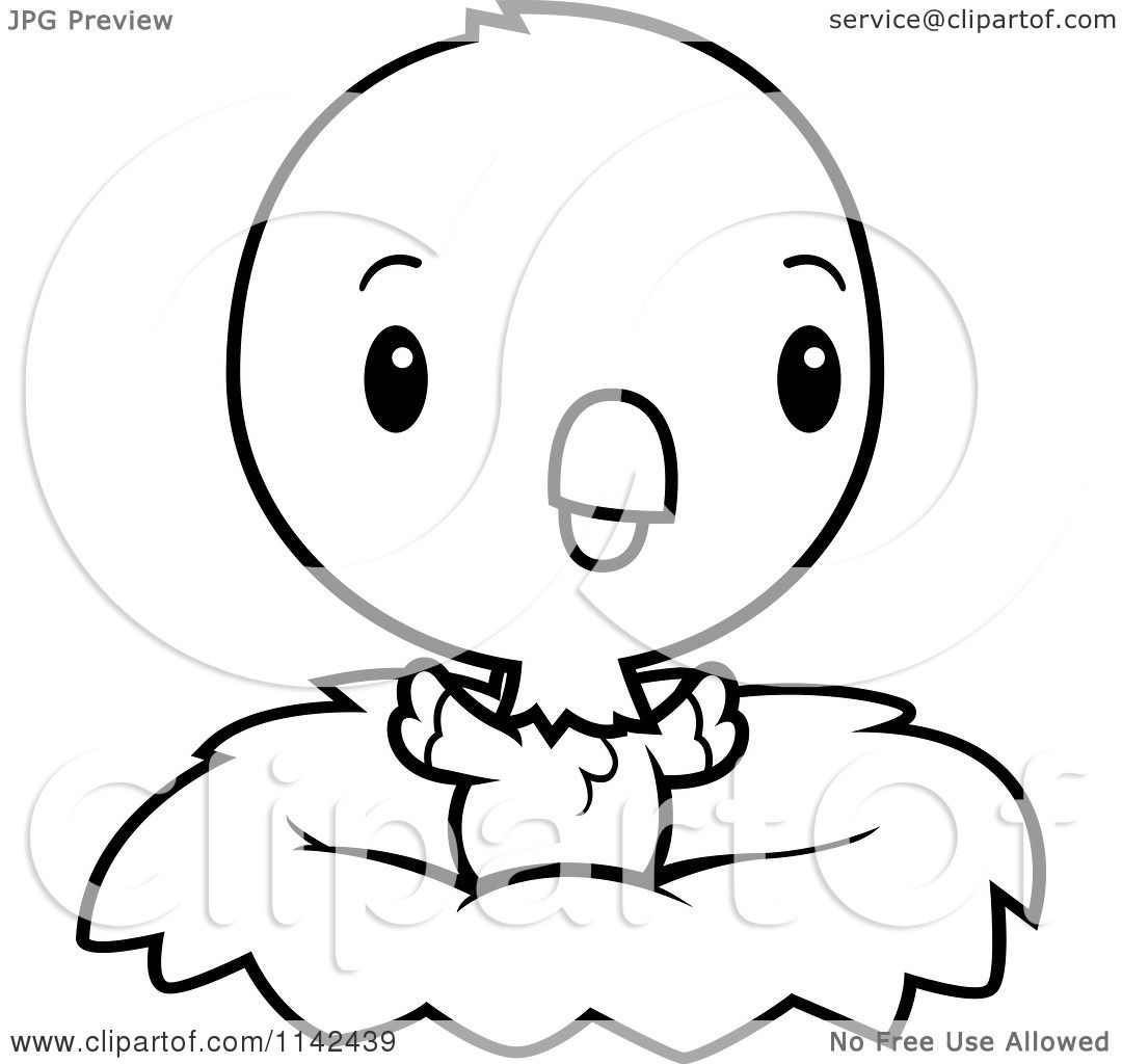 cartoon clipart of a black and white cute baby parrot in a nest