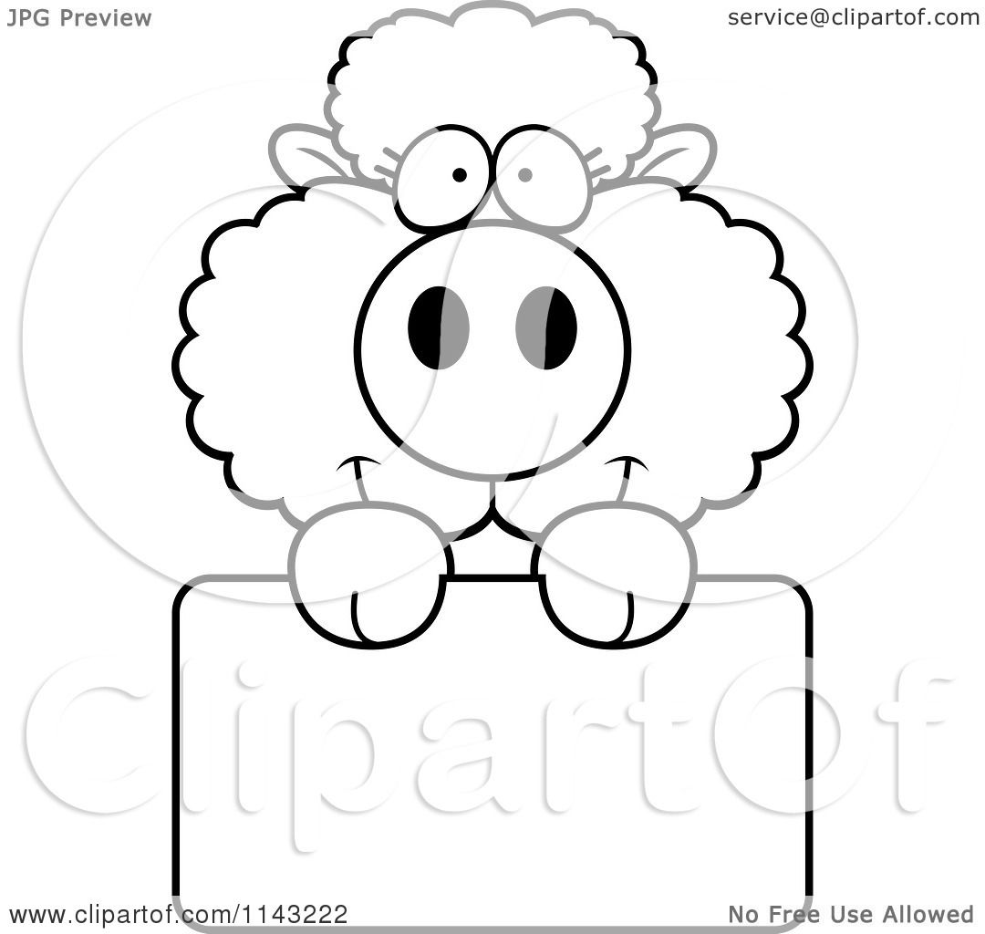 cartoon clipart of a black and white cute baby sheep holding a