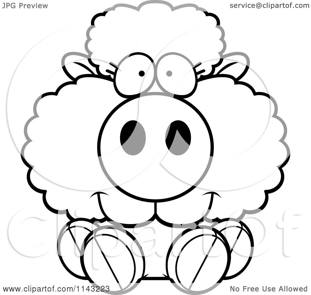 cartoon clipart of a black and white cute baby sheep sitting
