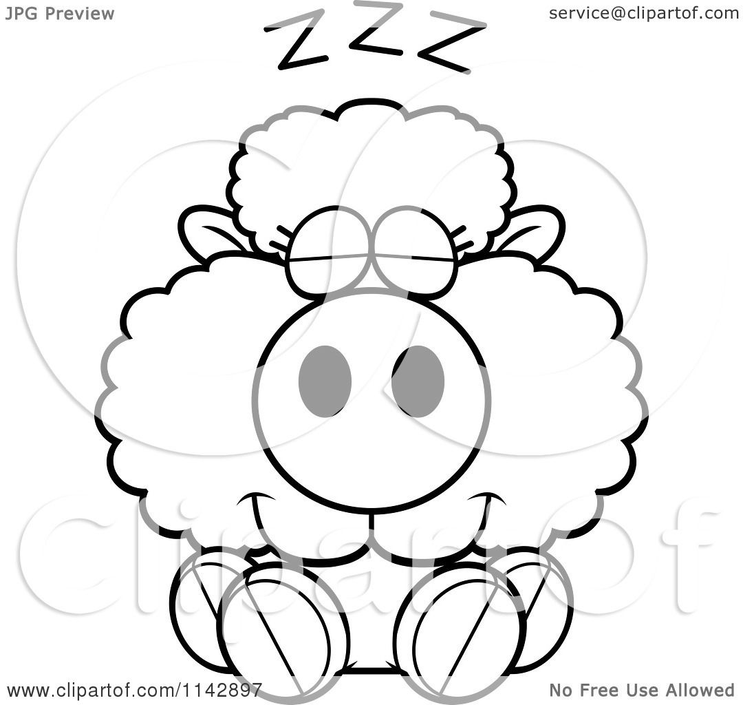 Cartoon Clipart Of A Black And White Cute Baby Sheep Sleeping ...