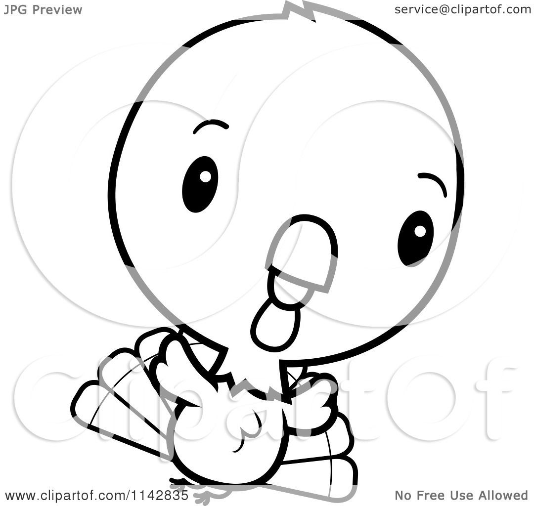 cartoon clipart of a black and white cute baby turkey bird flying