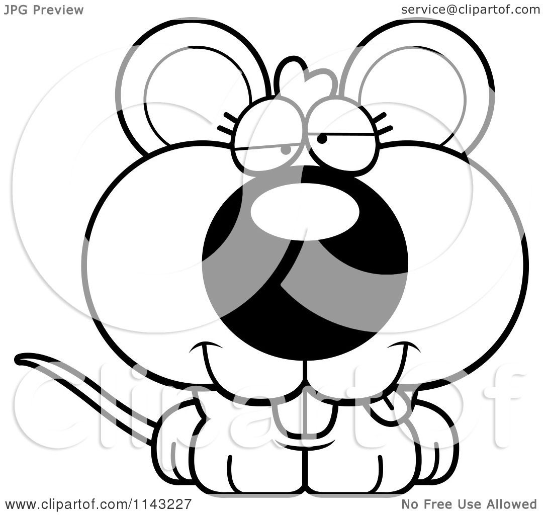 Cartoon Clipart Of A Black And White Cute Dumb Mouse
