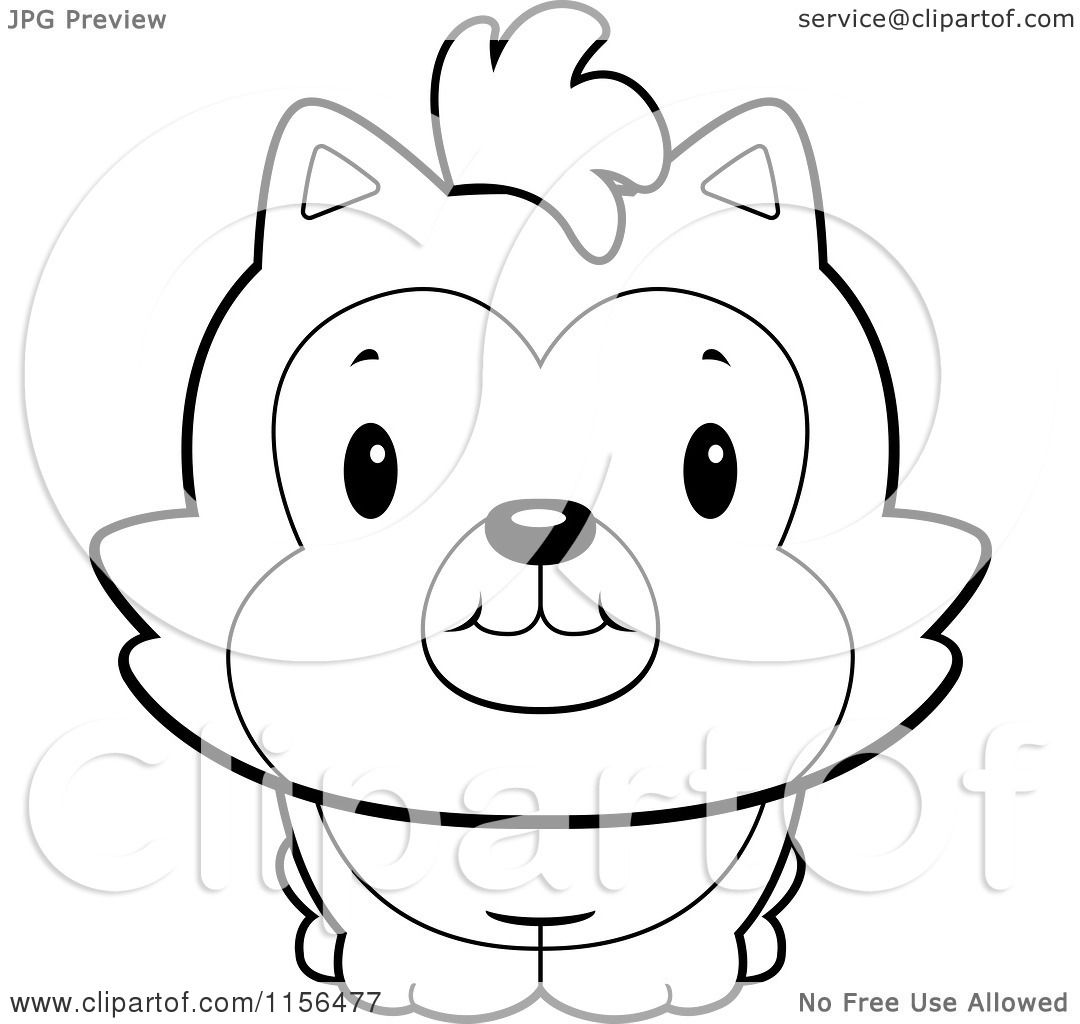 Cartoon Clipart Black And White Cute Husky Dog Vector