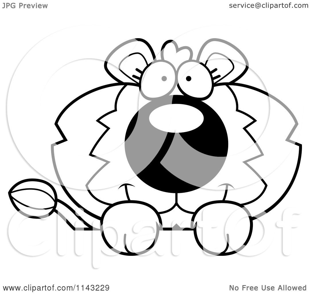 Cartoon Clipart Of A Black And White Cute Lion Over Surface