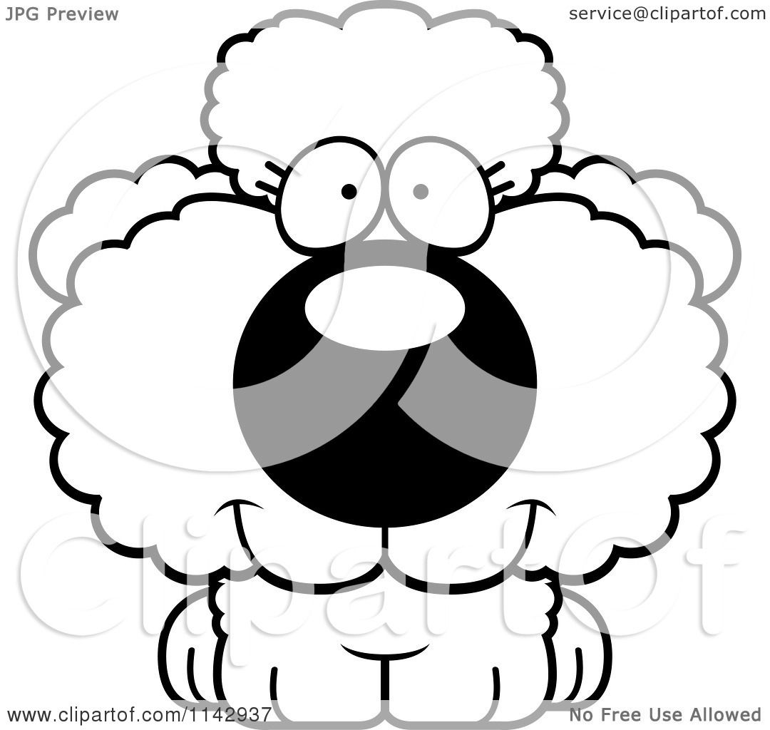 Cute poodle coloring pages ~ Cartoon Clipart Of A Black And White Cute Poodle Puppy ...
