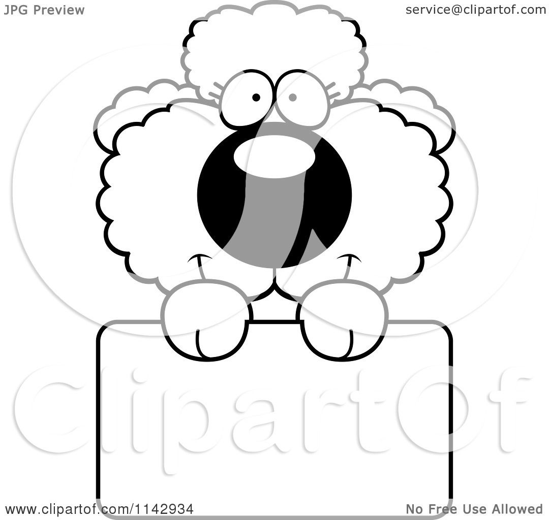 cartoon clipart of a black and white cute poodle puppy with a sign