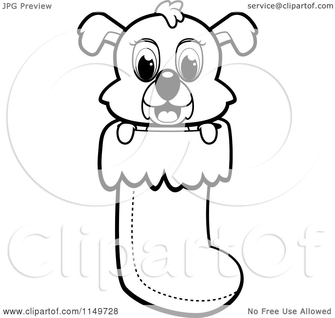 cartoon clipart of a black and white cute puppy dog peeping out of