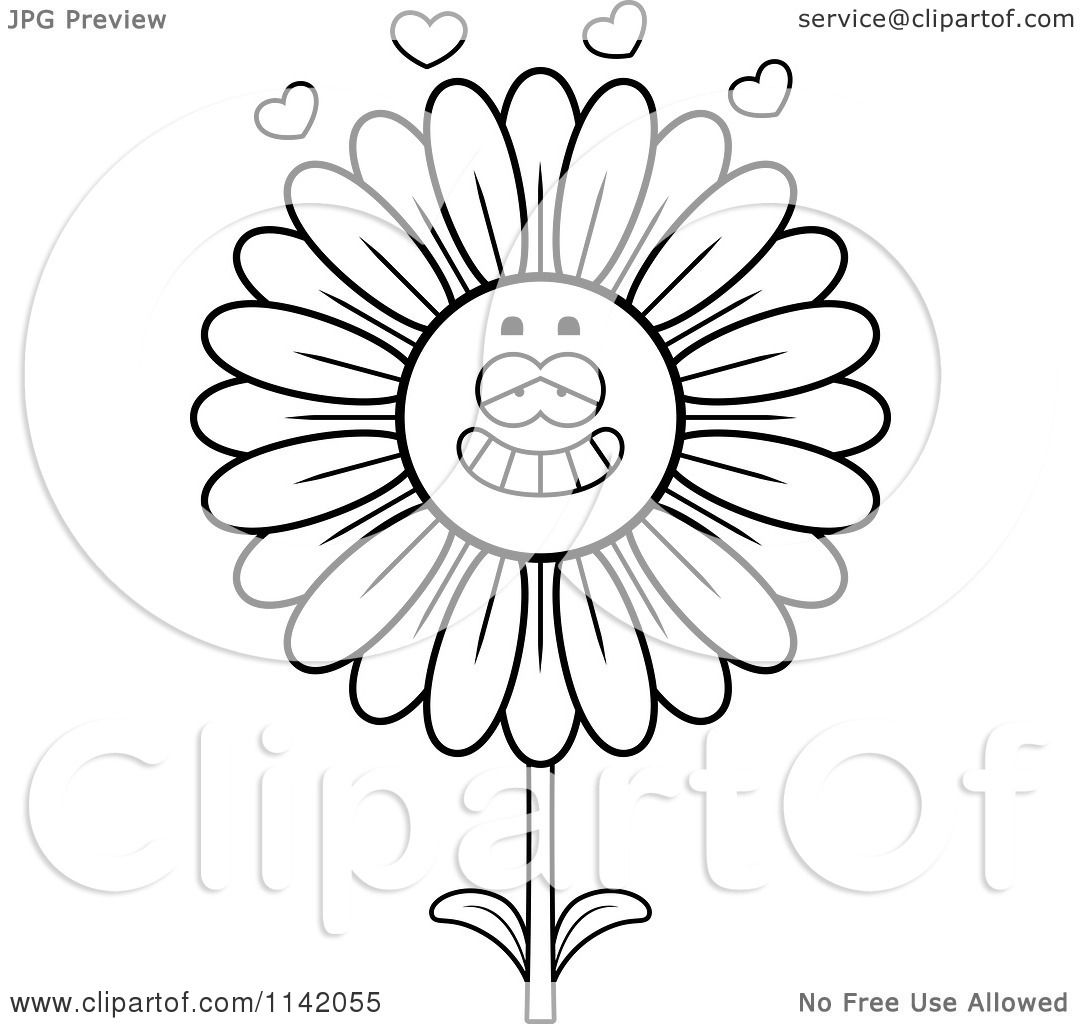 Daisy scout petal coloring pages - Cartoon Clipart Of A Black And White Daisy Flower Character In Love Vector Outlined Coloring Page By Cory Thoman