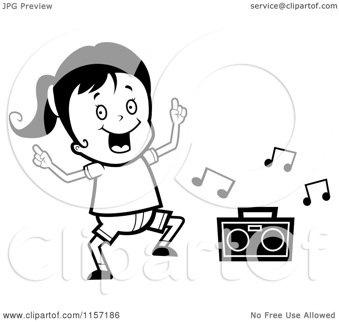 Cartoon Clipart Of A Black And White Dancing Girl Vector Outlined Coloring Page By Cory Thoman 1157186