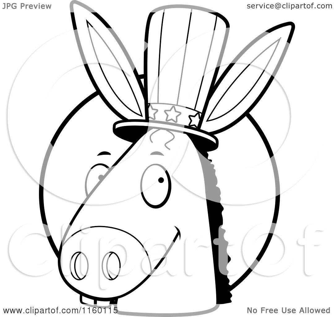 cartoon clipart of a black and white democratic donkey head in