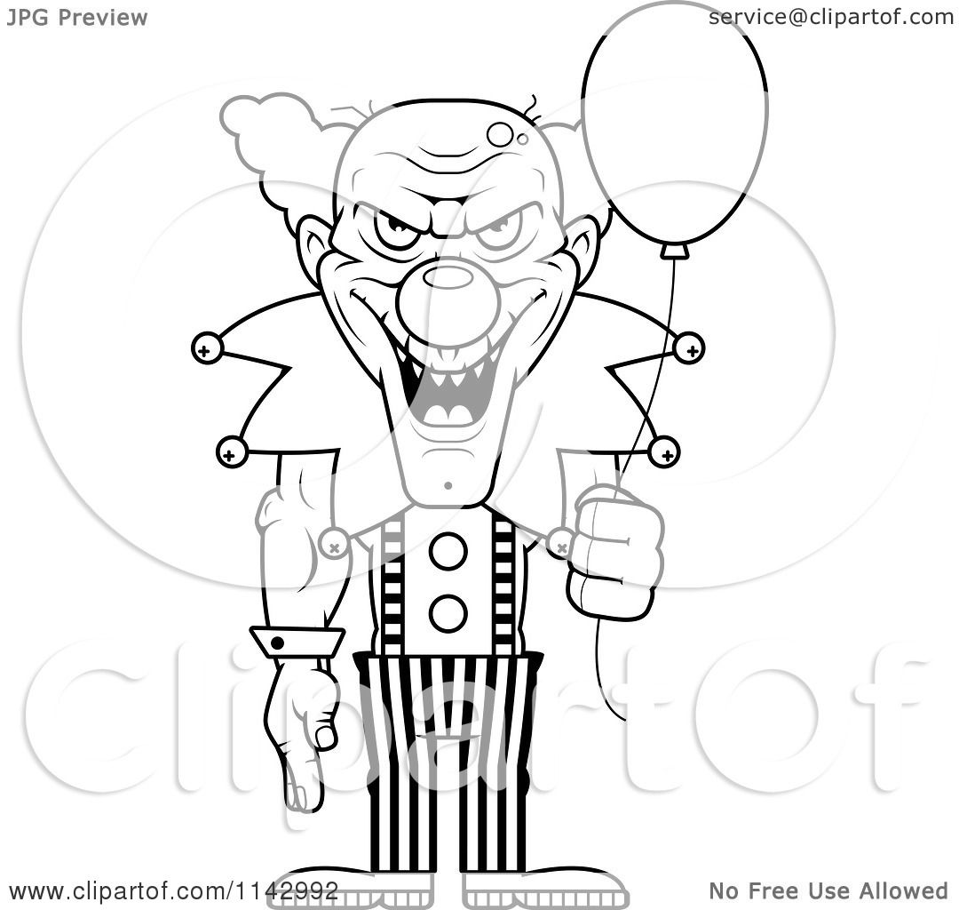 cartoon clipart of a black and white demonic clown holding a balloon vector outlined coloring page by cory thoman - Clown Balloons Coloring Page