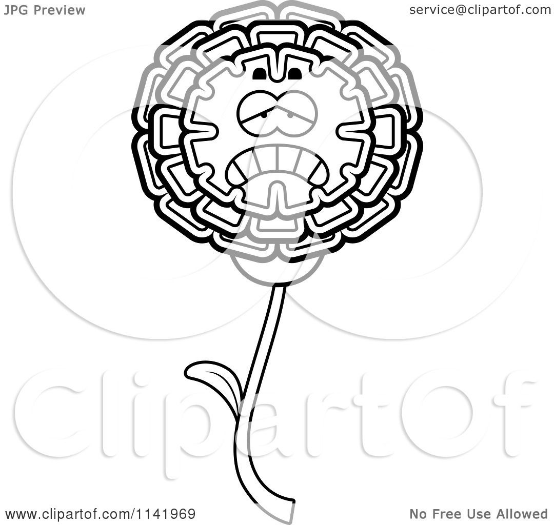 cartoon clipart of a black and white depressed marigold flower character vector outlined coloring page by cory thoman
