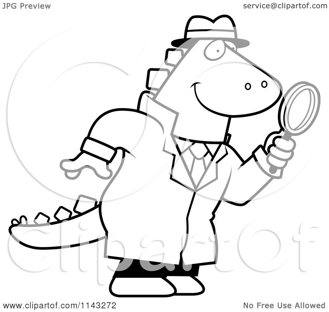 Cartoon Clipart Of A Black And White Dinosaur Detective Using Magnifying Glass