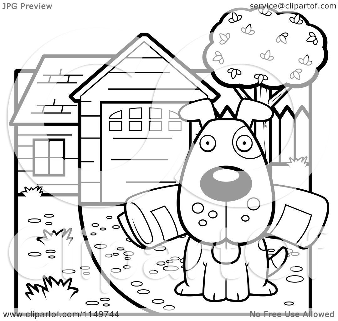 cartoon clipart of a black and white dog sitting in a driveway with a newspaper in his mouth. Black Bedroom Furniture Sets. Home Design Ideas