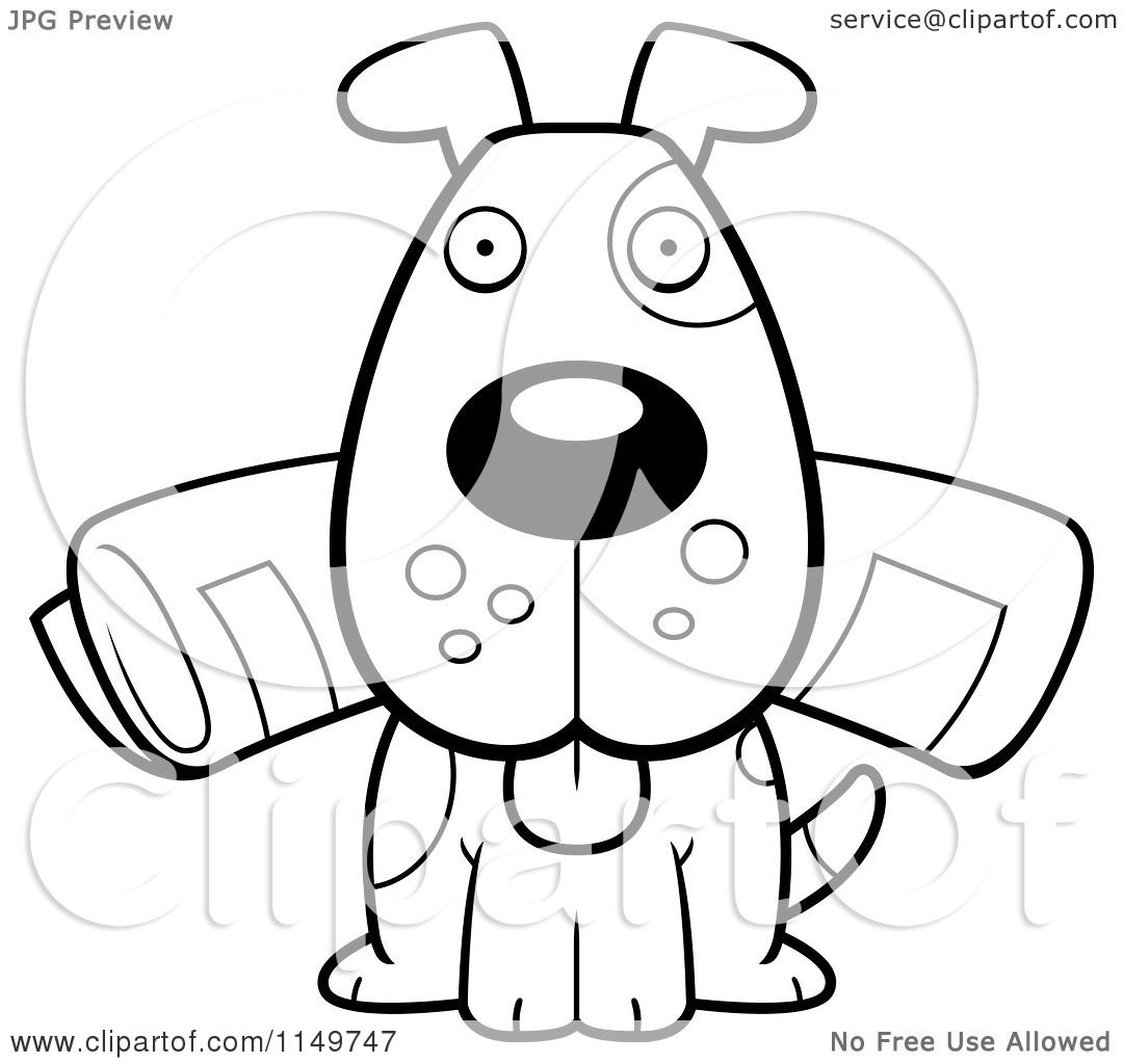 cartoon clipart of a black and white dog sitting with the newspaper in his mouth vector. Black Bedroom Furniture Sets. Home Design Ideas