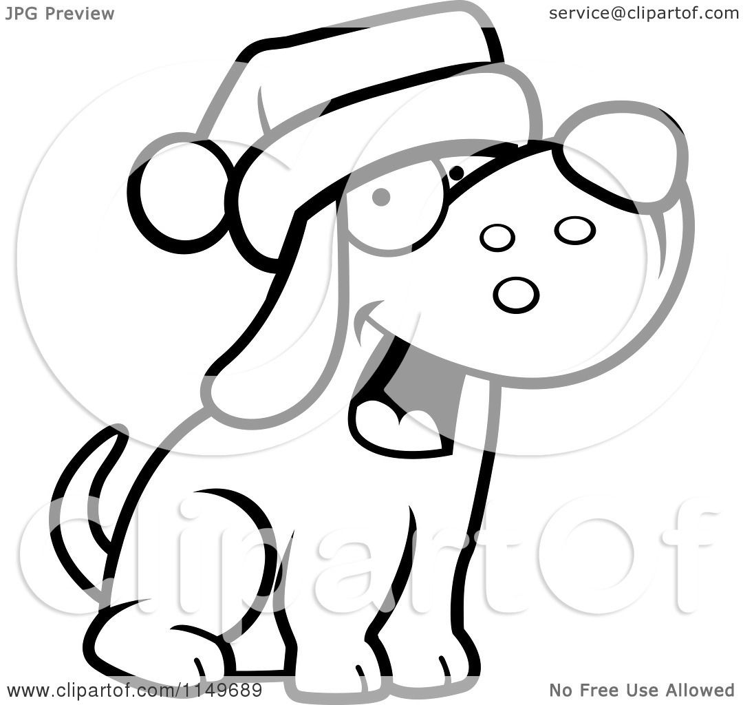 Cartoon clipart of a black and white dog wearing santa
