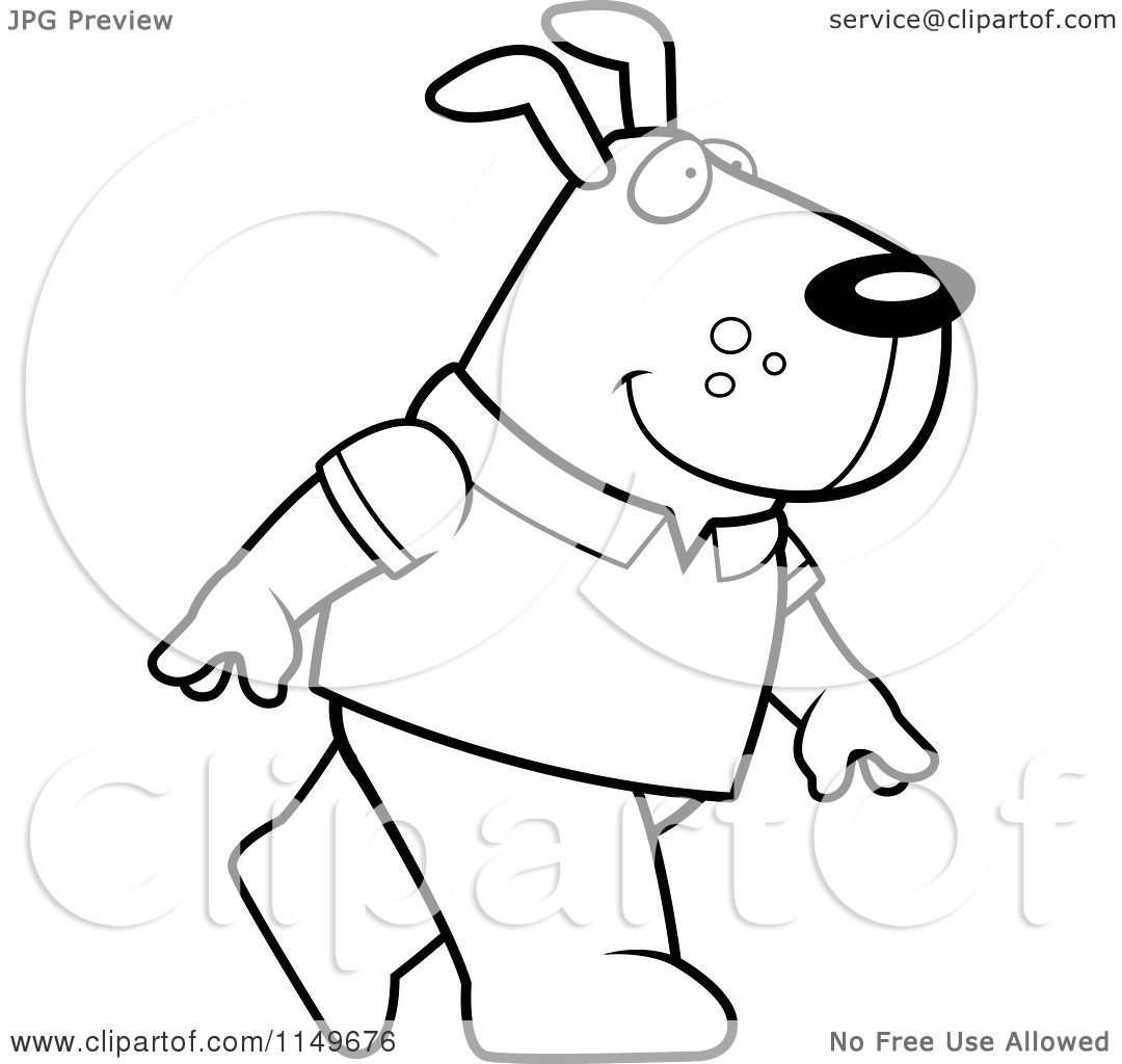Cartoon Clipart Of A Black And White Dog Wearing A Shirt ...
