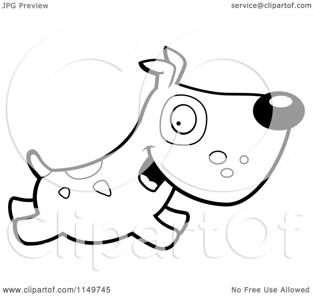 Cartoon Clipart Of A Black And White Dog With Spots Running