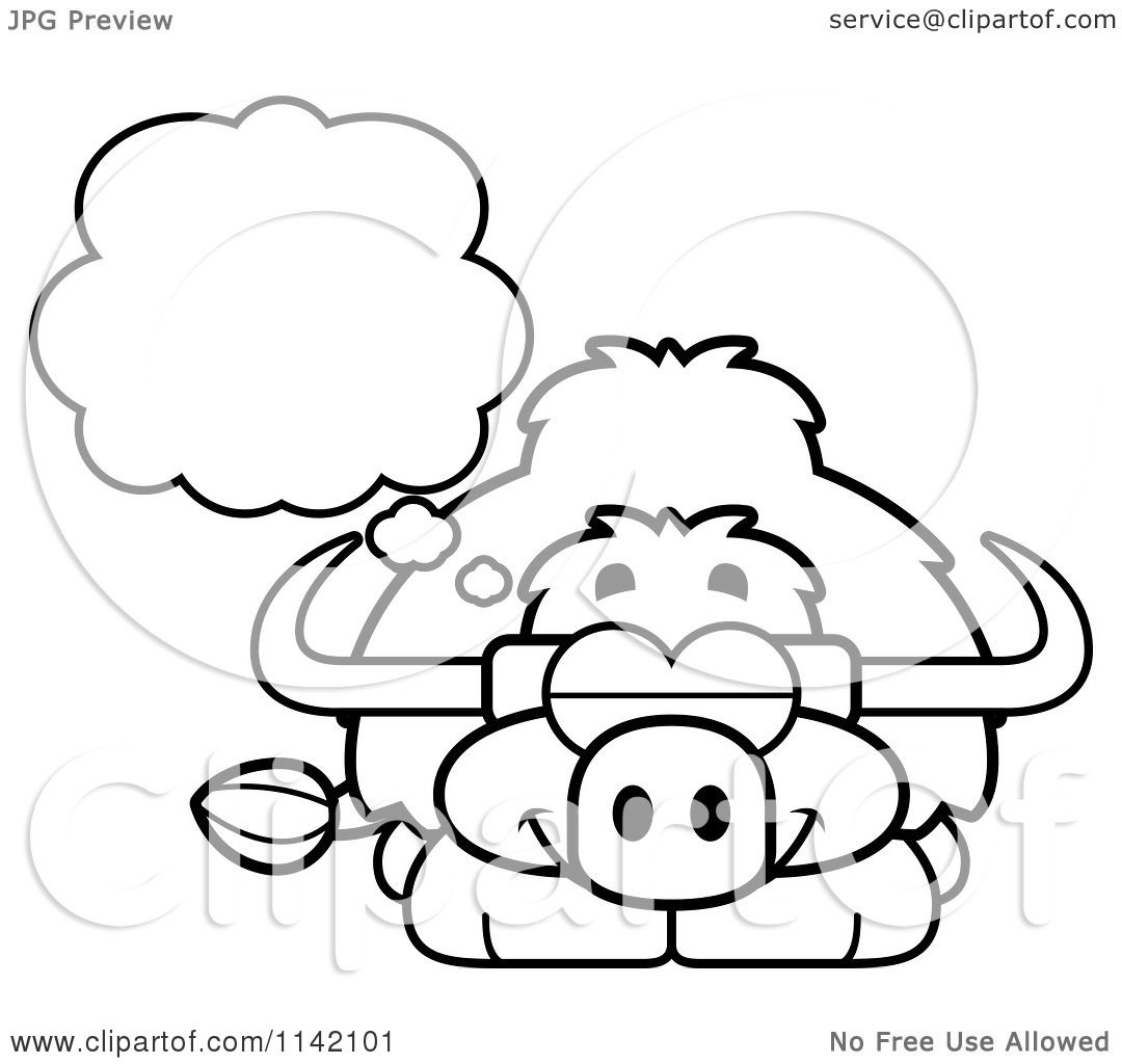 Coloring pages yak - Cartoon Clipart Of A Black And White Dreaming Yak Vector Outlined Coloring Page By Cory Thoman