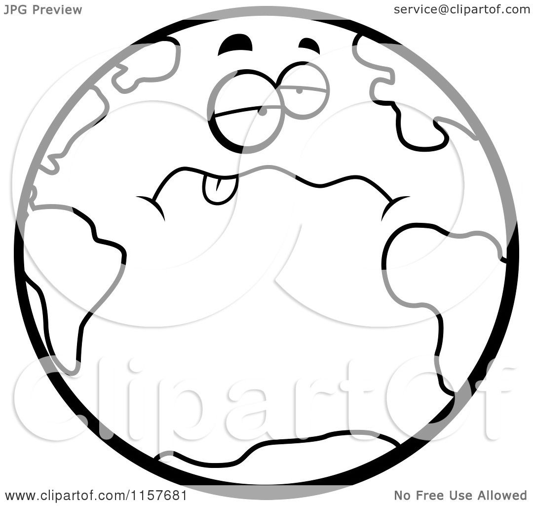 cartoon clipart of a black and white drunk earth hanging its