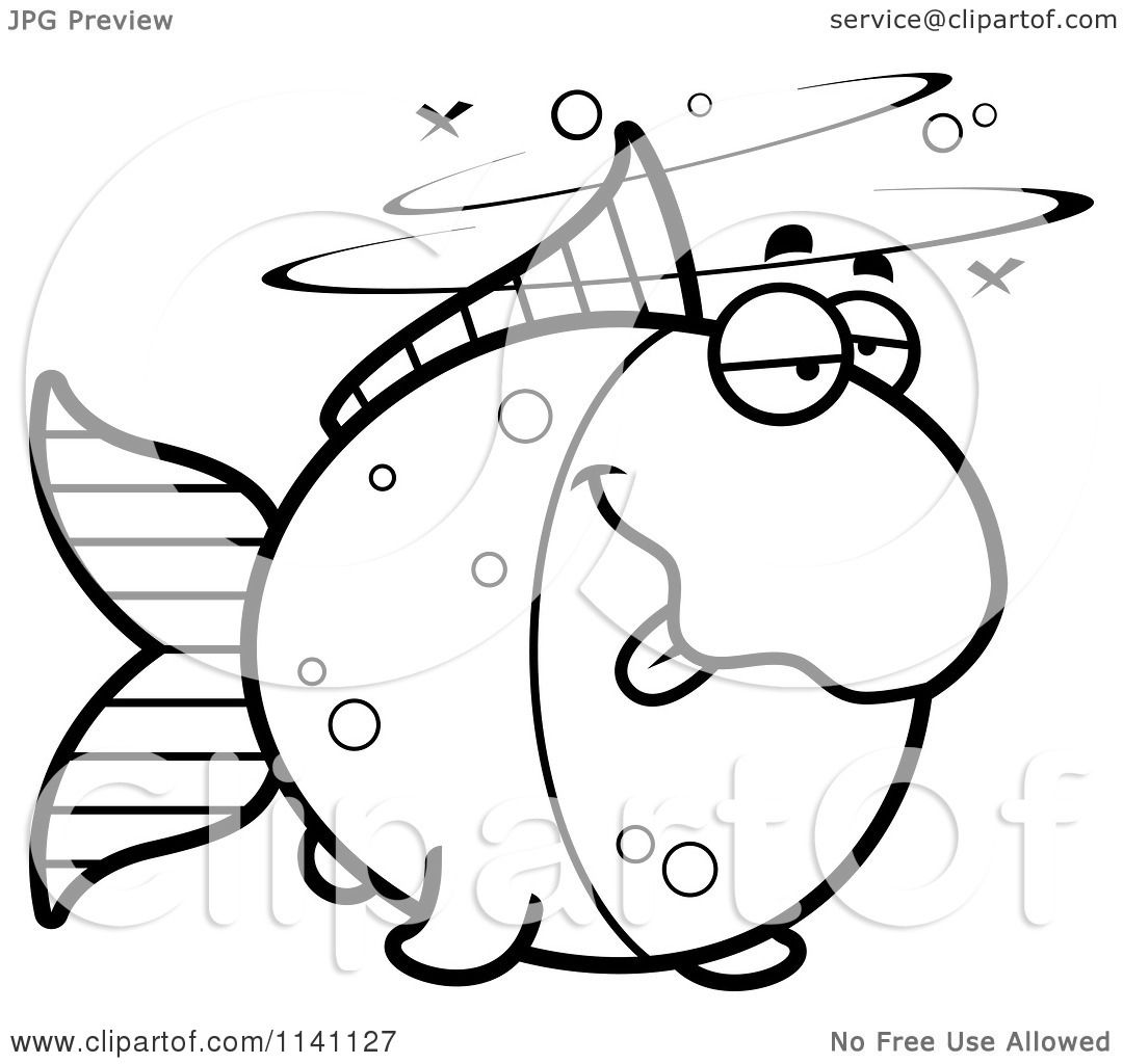 Cartoon Clipart Of A Black And White Drunk Goldfish ...