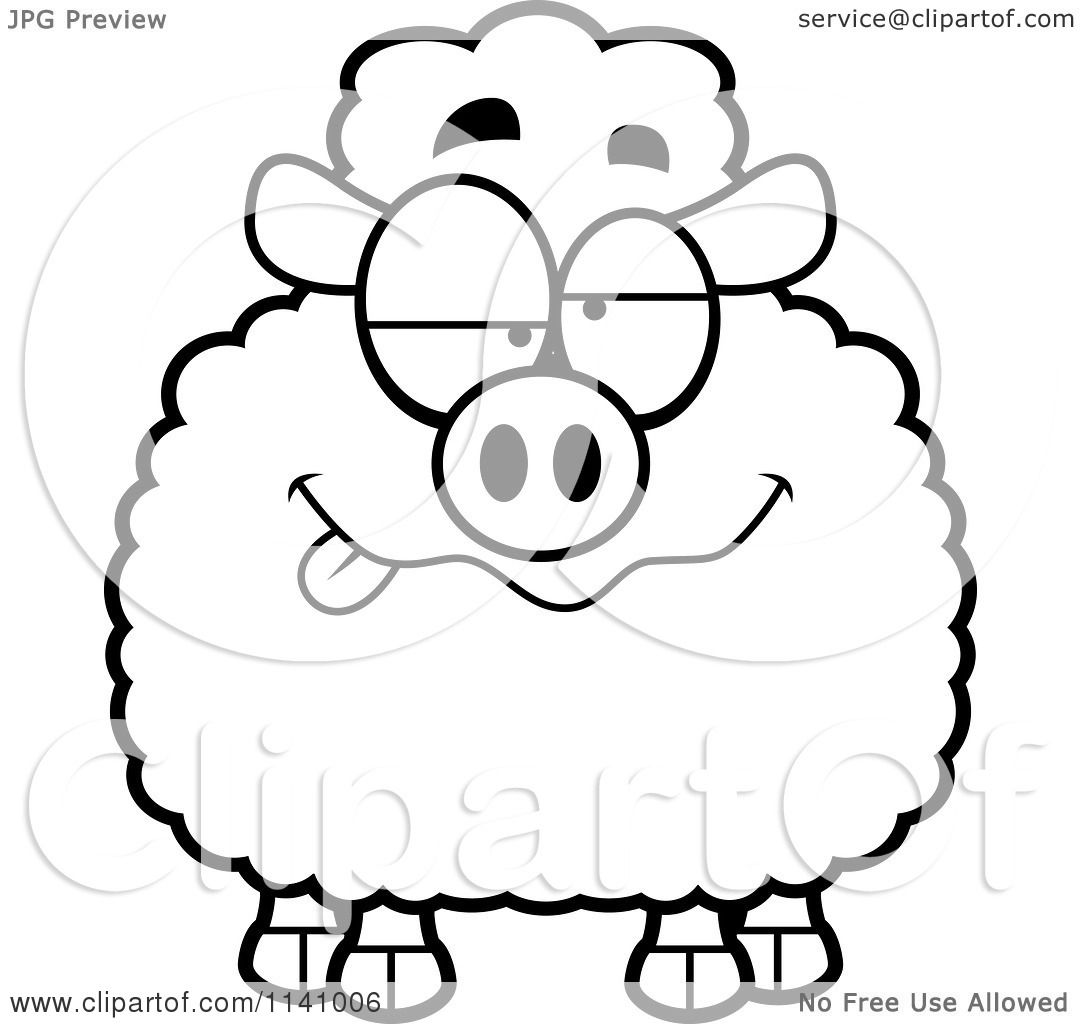 cartoon clipart of a black and white drunk sheep vector outlined