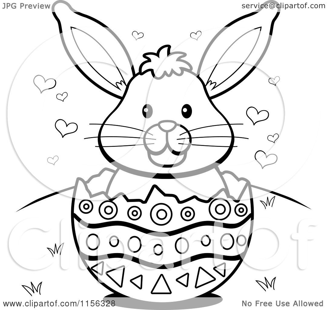 Easter Bunny With Eggs Clipart Black And White Cartoon Clipart...