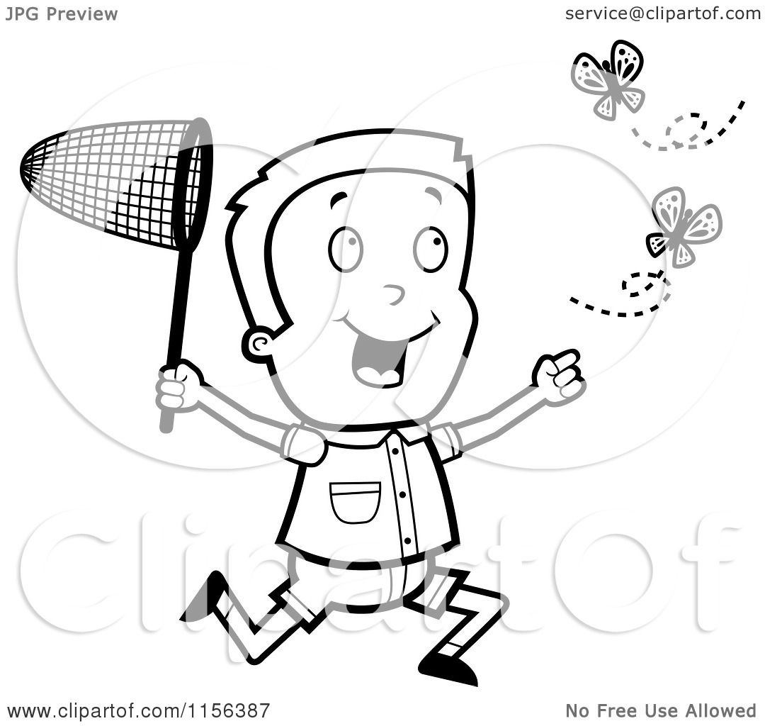 cartoon clipart of a black and white energetic boy chasing