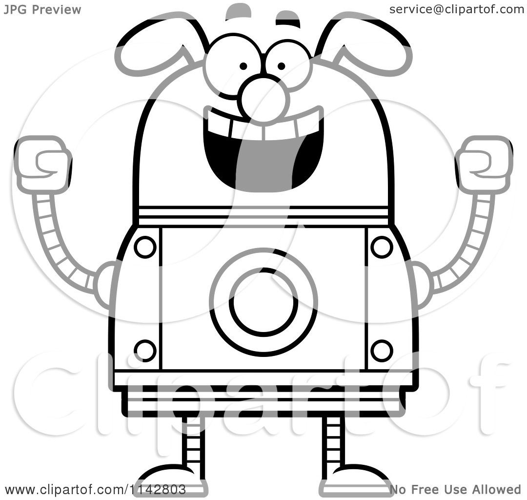 cartoon clipart of a black and white excited dog robot vector outlined coloring page by cory thoman